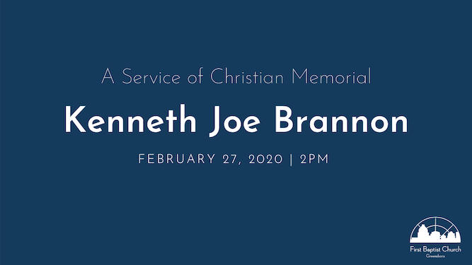 Kenneth Brannon Memorial Service