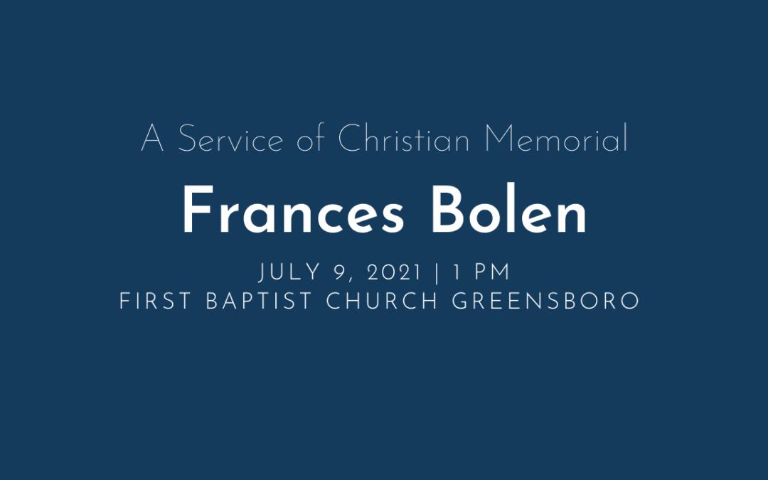 Frances Bolen Memorial Service