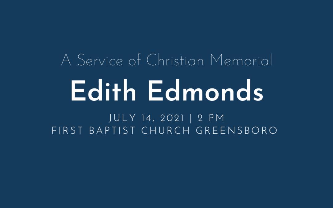 Edith Edmonds Memorial Service